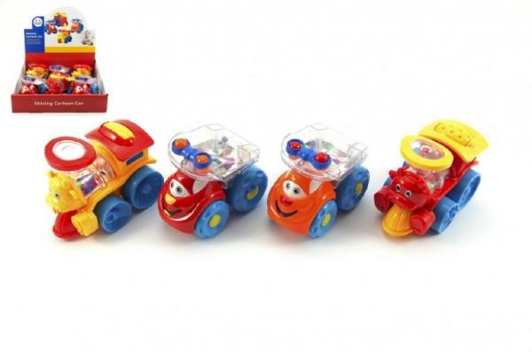 Auto/vlak plast veselé s kuličkami 10cm asst 2 druhy volný chod 6ks v boxu 12m+