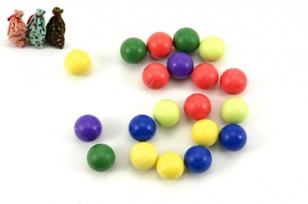 Kuličky cvrnkací nerozbitné barevné 20ks 1,5 cm 3 barvy látkového pytlíčku