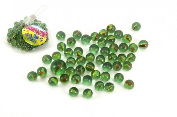 Kuličky cvrnkací skleněné cca 50ks 1,5cm v síťce