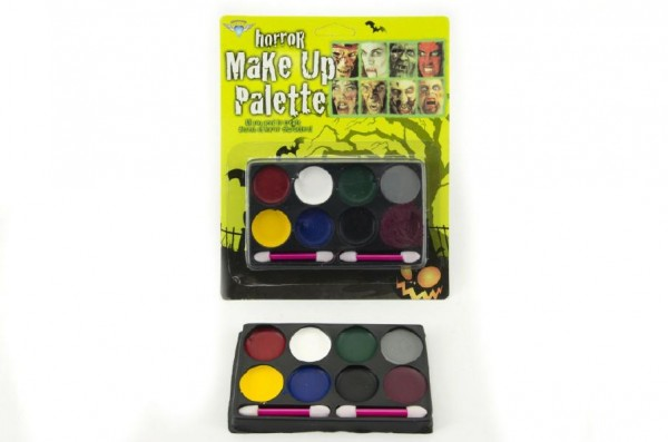 Barvy obličejové na kartě asst 3 barevné kombinace 17x21x1,5cm karneval