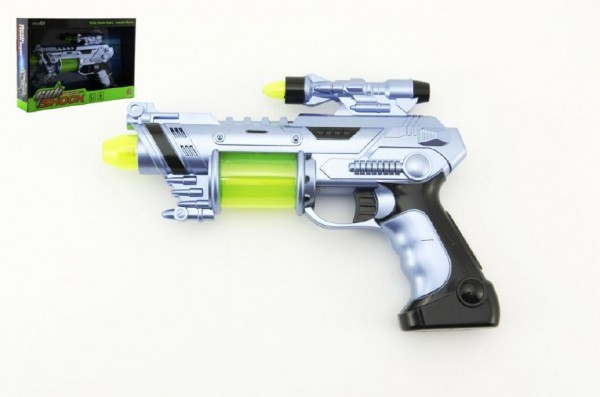 Pistole laserová plast 25cm na baterie se zvukem se světlem v krabici
