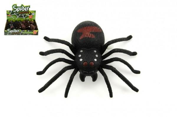 Pavouk na klíček plast 9cm asst 2 barvy 12ks v boxu
