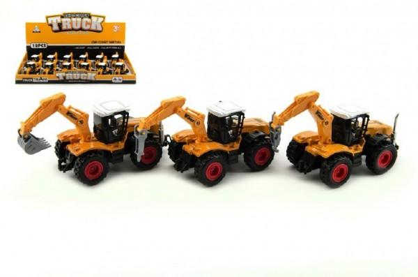 Traktor s podkopem stavební kov/plast 15cm asst na zpětné natažení  12ks v boxu