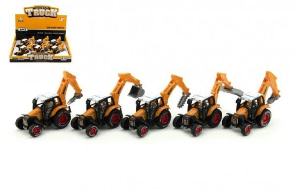 Traktor stavební kov/plast 15cm asst na zpětné natažení 6ks v boxu