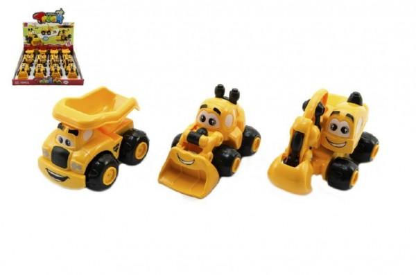 Auto stavební pro nejmenší plast 9cm asst 3 druhy na zpětné natažení 12ks v boxu 12m+