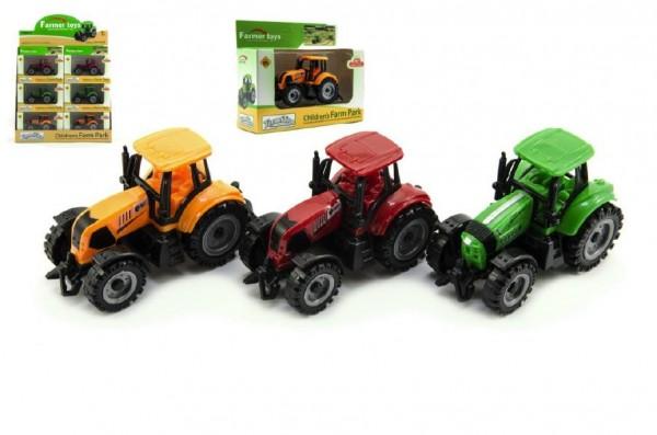 Traktor kov/plast 10cm asst 2 barvy v krabičce volný chod 12ks v boxu