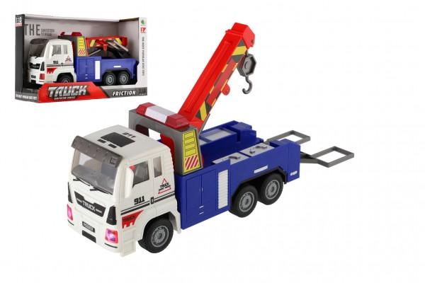 Auto nákladní odtahovka plast 24cm na baterie se světlem se zvukem v krabici