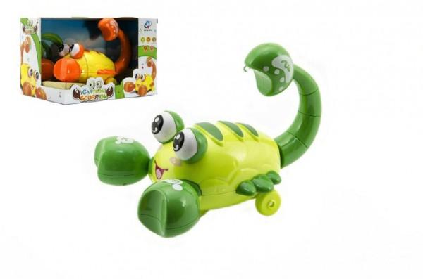 Krab chodící plast 20cm asst 2 barvy na baterie se zvukem se světlem v krabici