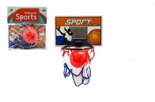 Basketbalová sada na přilepení na zeď míček+koš plast 14cm na kartě
