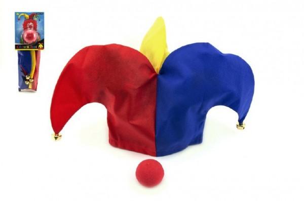 Klaunský klobouk látkový + nos karneval na kartě 11x30cm