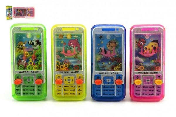 Vodní hra telefon hlavolam mobil plast 11cm asst 4 barvy v sáčku
