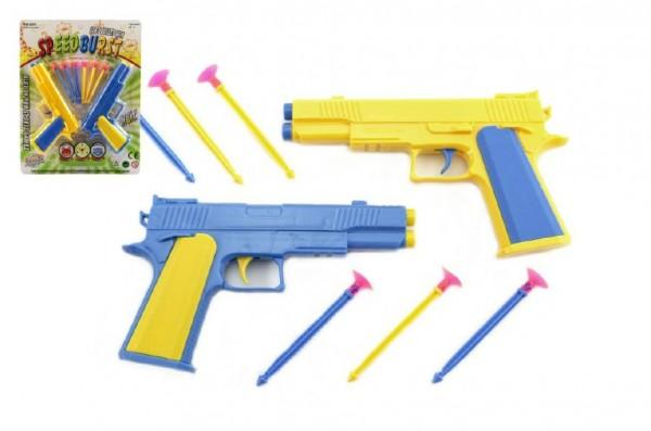 Pistole 2ks na přísavky  plast 17cm na kartě
