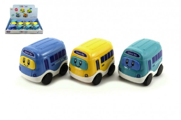 Autobus plast 8cm asst 3 barvy na setrvačník 12ks v boxu