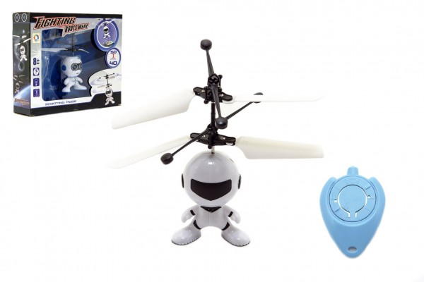 Vrtulníkový robot létající plast 13x11cm s USB kabelem na nabíjení svítící asst 2 barvy v krabičce
