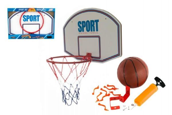 Basketbalový koš dřevo/kov/síťka/míč s pumpičkou kov 61cm v krabici 62x41x6cm