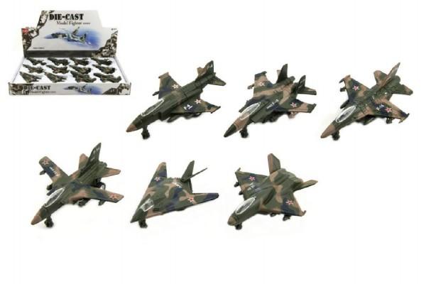 Letadlo/stíhačka vojenská kov/plast 9cm 12ks v boxu