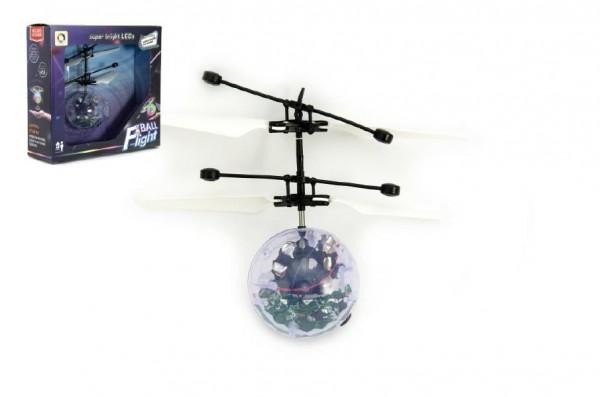 Vrtulníková koule létající plast 13x11cm s USB kabelem na nabíjení v krabičce