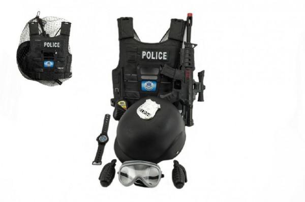 Sada policejní pistole a přilba s doplňky plast 38cm v síťce