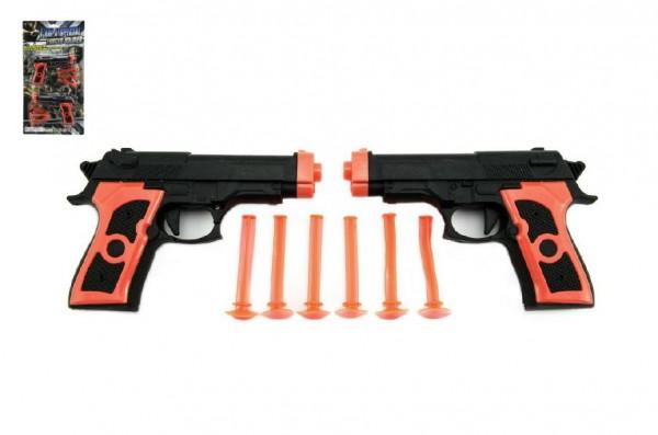 Pistole 2ks na přísavky plast 15cm na kartě