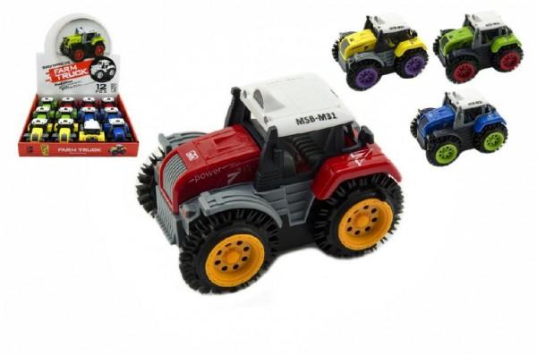 Traktor převracecí plast 10cm asst mix barev na baterie 12ks v boxu