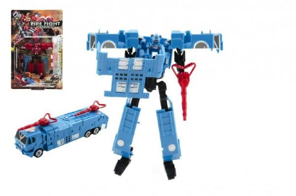 Transformer auto/robot hasiči plast 16cm asst 2 barvy na kartě