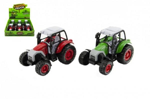 Traktor plast/kov 14cm asst 2 barvy na zpětné natažení 6ks v boxu