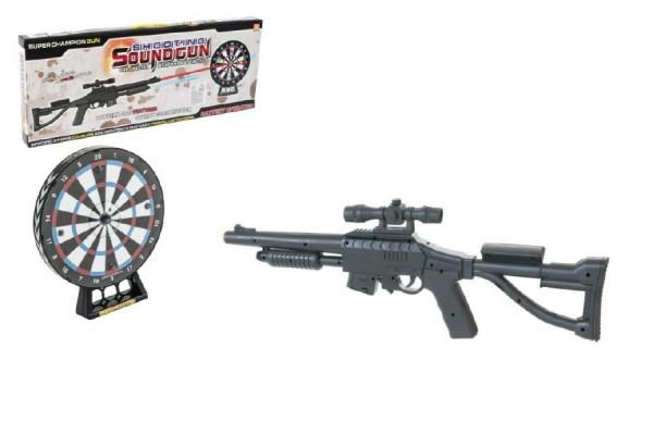 Pistole puška se zaměřovačem+terč plast 66cm na baterie se světlem se zvukem v krabici