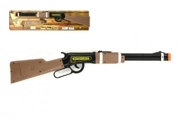 Puška/Pistole opakovací kovbojská plast 62cm na baterie se světlem na kartě