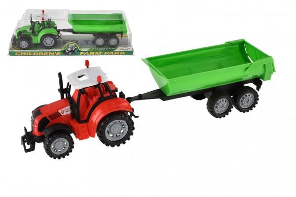 Traktor s vlekem a výklopkou plast 35cm asst 3 barvy na setrvačník v blistru