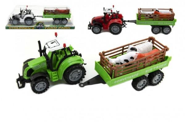Traktor s přívěsem a zvířátky plast 35cm asst 3 barvy na setrvačník v blistru
