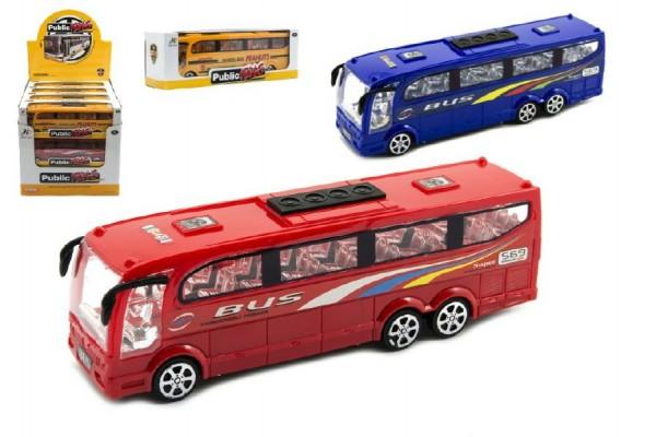 Autobus plast 25cm na setrvačník asst 3 barvy v krabici 12ks v boxu