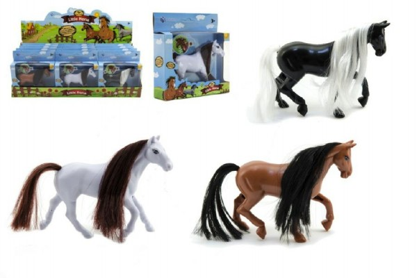Kůň plast 11cm asst 3 barvy v krabičce 12ks v boxu