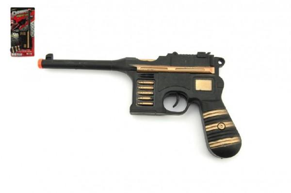 Pistole jiskřící 26cm na setrvačník plast na kartě