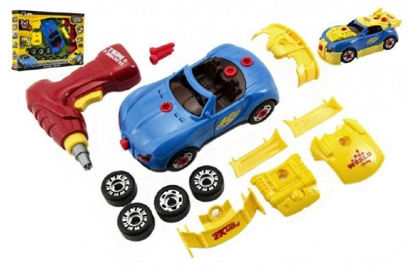 Sada auto šroubovací s vrtačkou+součástky plast 18cm na baterie se světlem v krabici 40x28cm