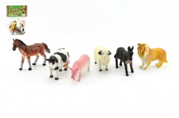 Zvířátka domací farma 6ks plast 9cm v sáčku 16,5x27x5cm