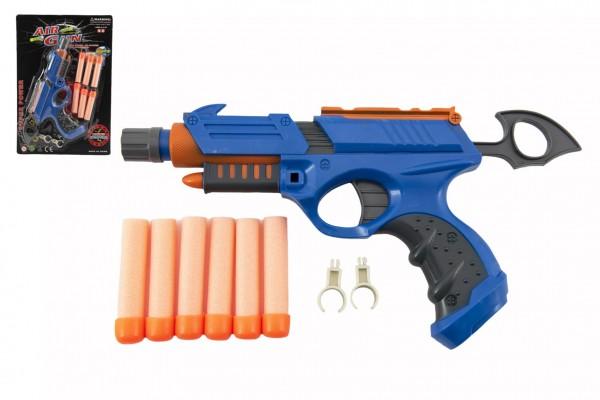 Pistole 25cm na pěnové náboje plast 6ks nábojů + doplňky na kartě