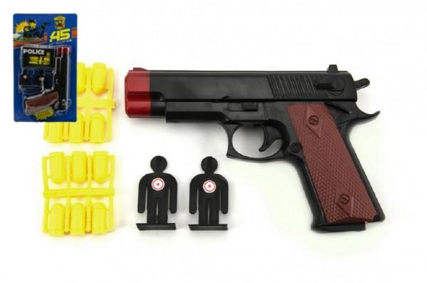 Pistole špuntovka s náboji + terče plast 15cm na kartě
