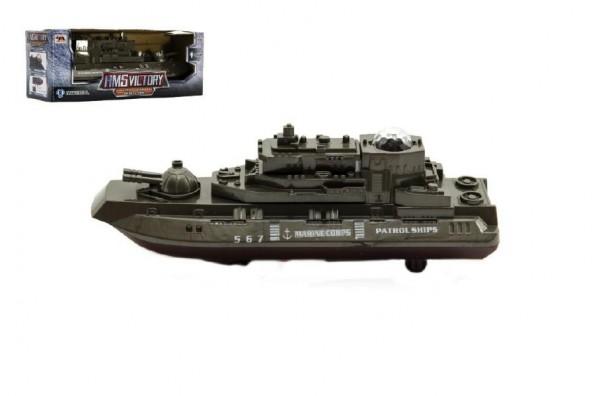 Ponorka vojenská narážecí plast 20cm na baterie se světlem se zvukem v krabičce