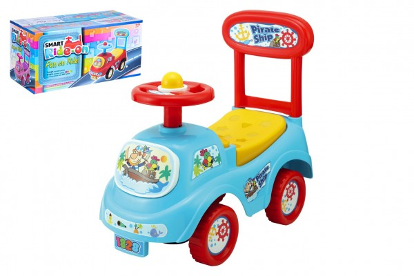 Odrážedlo auto plast modré výška sedadla 20cm v krabici 48x23,5x22,5cm 12-35m