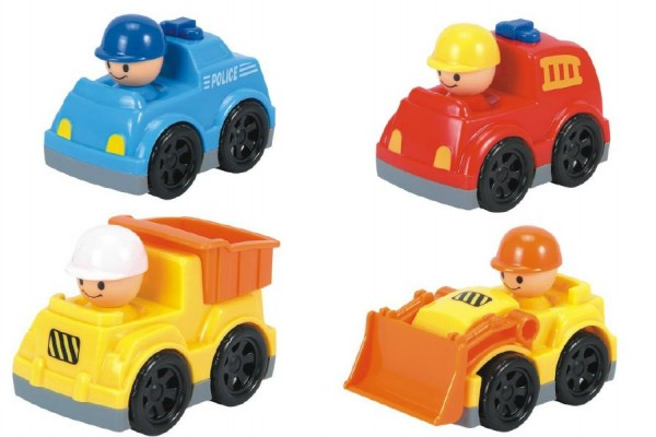 Auto mini plast 9cm volný chod asst 4 druhy 12ks v boxu