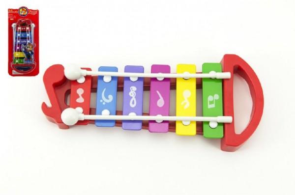 Xylofon plast/kov 25cm na kartě
