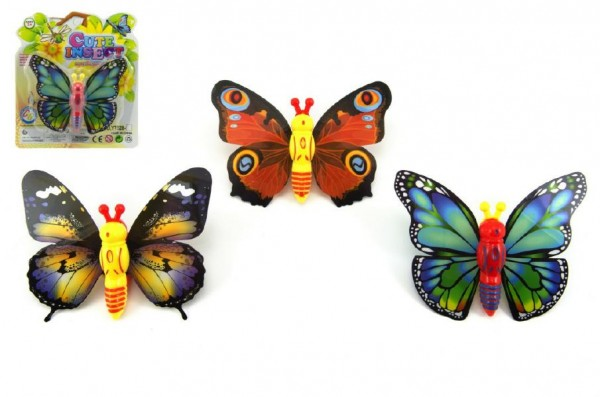 Motýl natahovací plast 10cm asst 3 druhy na kartě