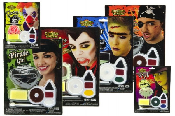 Barvy obličejové s doplňky asst 6 druhů na kartě 16x21cm karneval