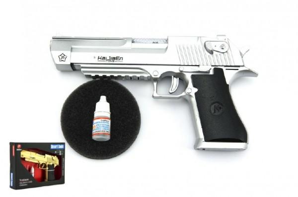 Pistole kouřící plast 22cm se světlem se zvukem na baterie asst 2 barvy
