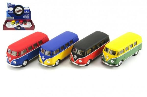 Autobus Kinsmart Volkswagen Classical kov 13cm na zpětné natažení asst 4 barvy 12ks v boxu