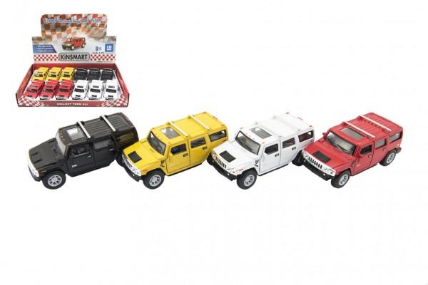 Auto Kinsmart Hummer H2 SUV kov 12cm na zpětné natažení asst 4 barvy 12ks v boxu