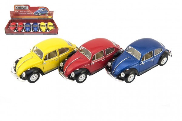 Auto Kinsmart Volkswagen Classical Beetle kov 17cm volný chod asst 3 barvy 6ks v boxu