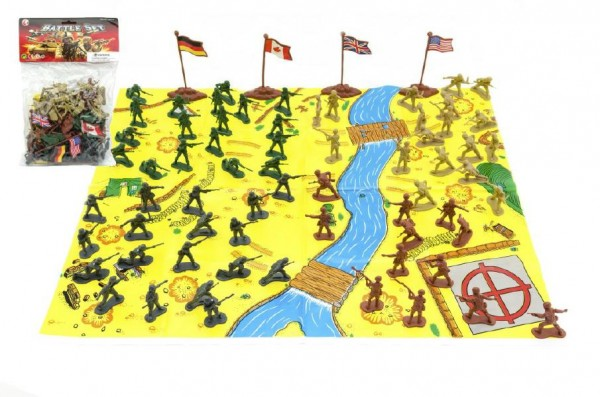Vojáci s mapou a doplňky plast asst v sáčku
