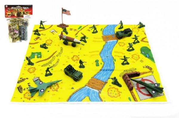 Sada vojáci s mapou plast asst 3 barvy v sáčku 21,5x30cm