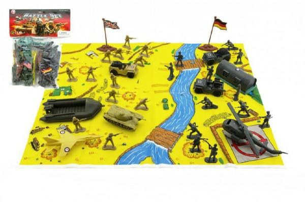 Vojáci s mapou a doplňky plast asst 2 druhy v sáčku